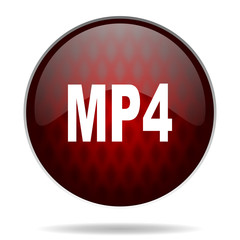 mp4 red glossy web icon on white background.