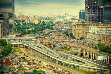 Moscow cityscape downtown. Road with cars. Modern life