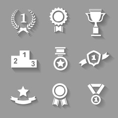 Set of white  award  success and victory icons with trophies