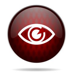 eye red glossy web icon on white background.