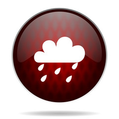 rain red glossy web icon on white background.