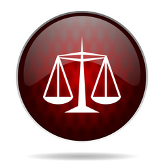 justice red glossy web icon on white background.