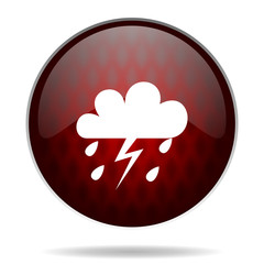storm red glossy web icon on white background.