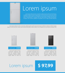 Flat vector minimalist template business design. Fridges.