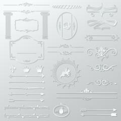 ornate design elements cut paper set