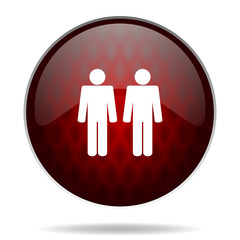 couple red glossy web icon on white background.
