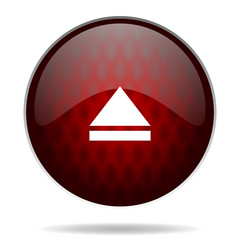 eject red glossy web icon on white background.
