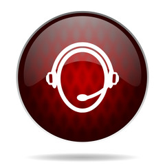 customer service red glossy web icon on white background.