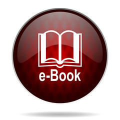book red glossy web icon on white background.