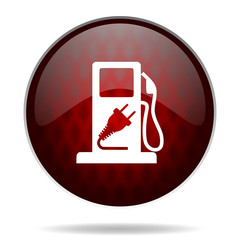fuel red glossy web icon on white background.