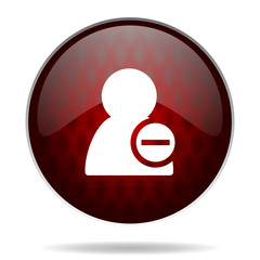 remove contact red glossy web icon on white background.