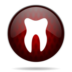 tooth red glossy web icon on white background.