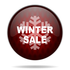 winter sale red glossy web icon on white background.