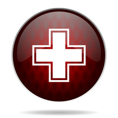 pharmacy red glossy web icon on white background.