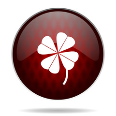 four-leaf clover red glossy web icon on white background.