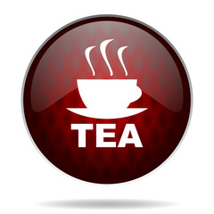tea red glossy web icon on white background.