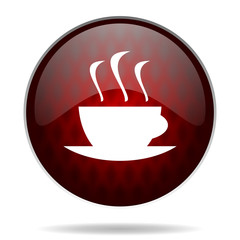 espresso red glossy web icon on white background.