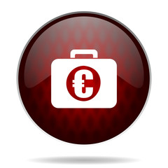financial red glossy web icon on white background.