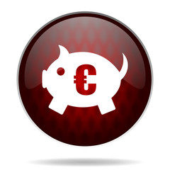piggy bank red glossy web icon on white background.