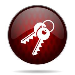 keys red glossy web icon on white background.