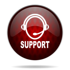 support red glossy web icon on white background.