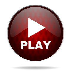 play red glossy web icon on white background.