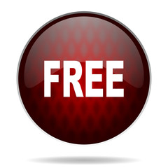 free red glossy web icon on white background.