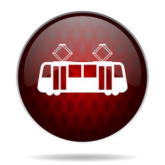 tram red glossy web icon on white background.