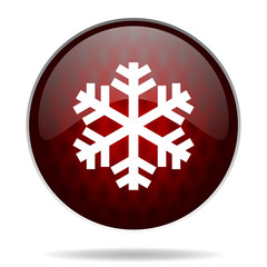 snow red glossy web icon on white background.