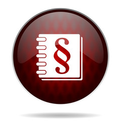 law red glossy web icon on white background.