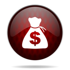 money red glossy web icon on white background.