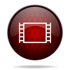 movie red glossy web icon on white background.