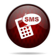 sms red glossy web icon on white background.