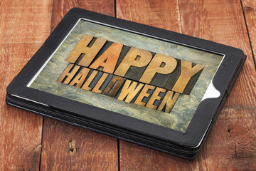 Happy Halloween  on a tablet