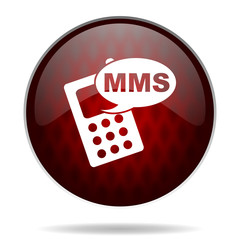 mms red glossy web icon on white background.