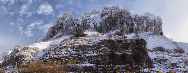 beautiful snow mountain landscape. Cantabria,Spain.