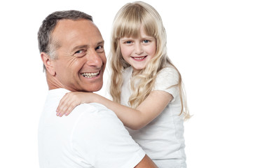 Cheerful father with cute little daughter