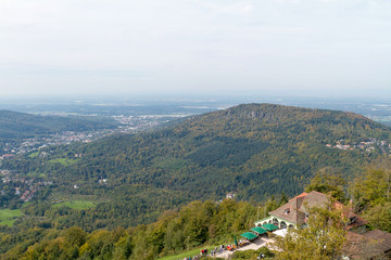 Panorama view from summit Merkur to Baden-Baden, Germany