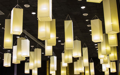 lamps hanging from a ceiling