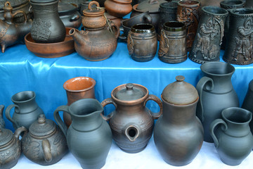 Ceramic ware of handwork at fair of national creativity