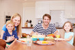 canvas print picture - Family Enjoying Meal At Home Together