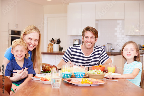 canvas print picture Family Enjoying Meal At Home Together