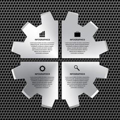 Vector options infographic steel gear.