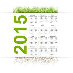 Vector simple calendar 2015 year. Grass style.