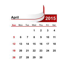 Vector simple calendar 2015 year april month.