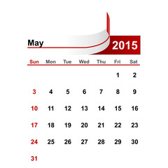 Vector simple calendar 2015 year may month.