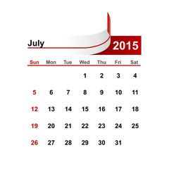 Vector simple calendar 2015 year july month.