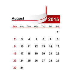 Vector simple calendar 2015 year august month.