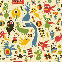 Colorful seamless pattern with happy monsters at the party.