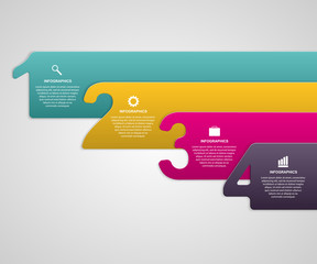 Vector creative paper colorful numbered ribbons infographic.